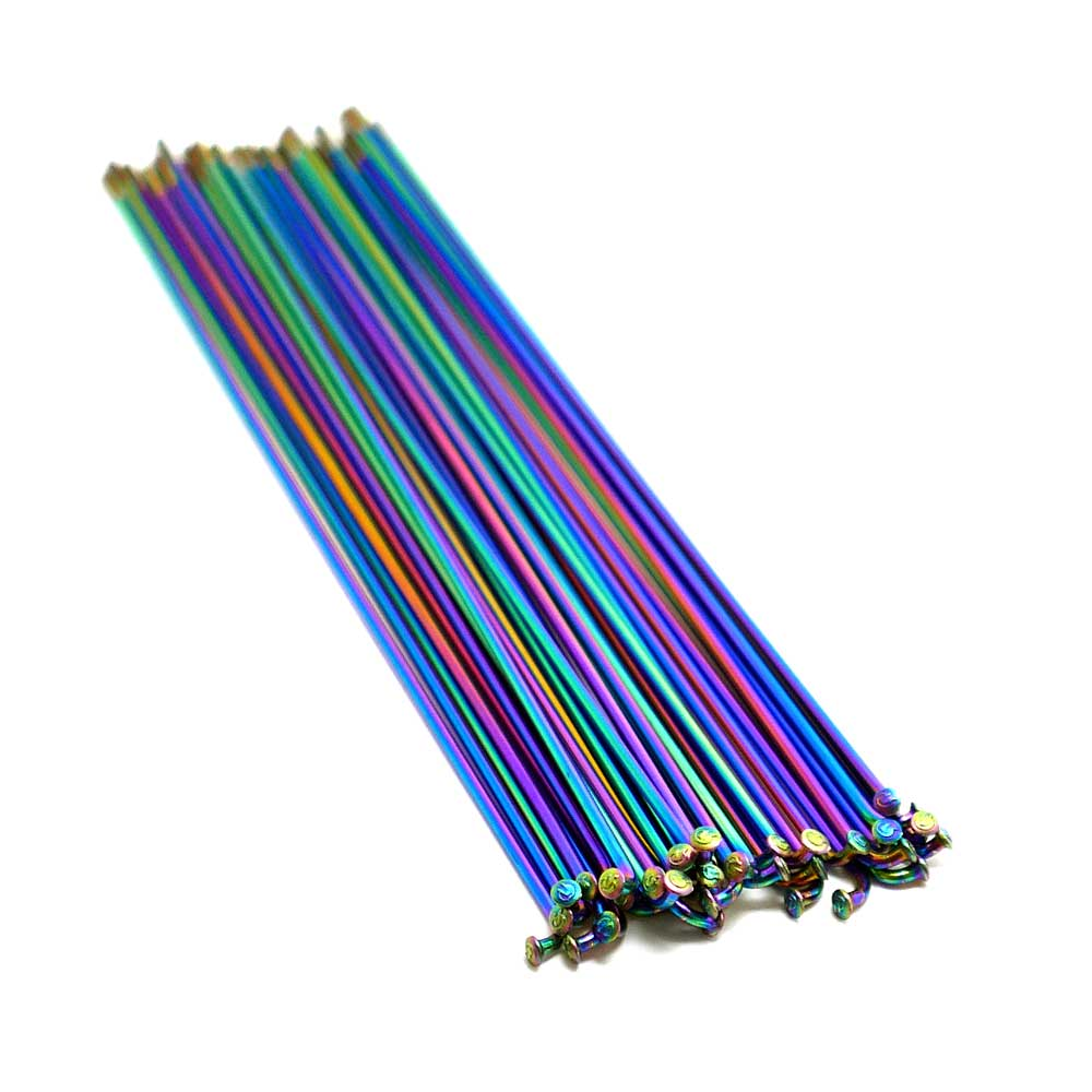 TLC BIKES 14G 304 Stainless Steel Spokes - Rainbow / Oilslick