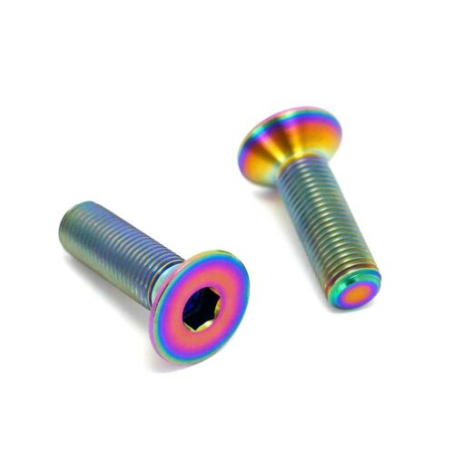 TLC BIKES Titanium BMX Crank Spindle Bolts - Rainbow