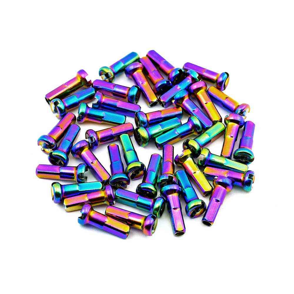 TLC BIKES 14mm Brass Spoke Nipples - Rainbow, Oilslick