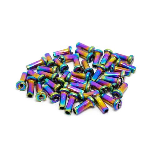 TLC BIKES 12mm Brass Spoke Nipples - Rainbow, Oilslick