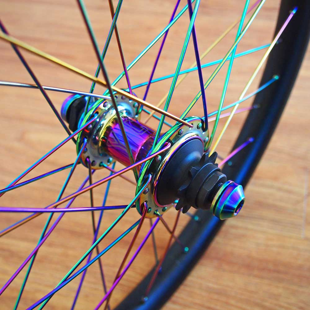 TLC BIKES Rainbow Titanium Hub Bolts and Lightweight 304 Stainless Steel Spokes