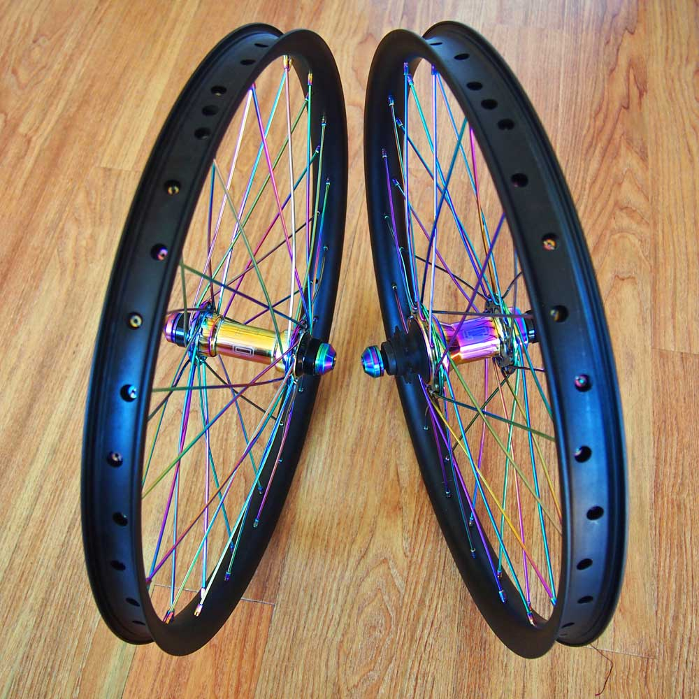 TLC BIKES Black and Rainbow BMX Wheel Set