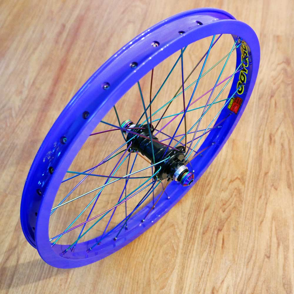 TLC BIKES Purple and Rainbow BMX Wheel Build